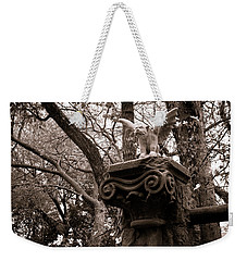 Weekender Tote Bag featuring the photograph Garden Gargoyle  by Toni Hopper