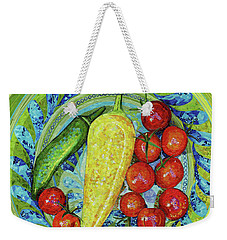 Weekender Tote Bag featuring the mixed media Garden Harvest by Shawna Rowe