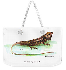 Weekender Tote Bag featuring the drawing Garden Lizard by Nguyen van Xuan