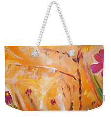 Weekender Tote Bag featuring the painting Garden Moment by Winsome Gunning