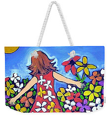 Weekender Tote Bag featuring the painting Garden Of Joy by Winsome Gunning