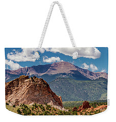 Weekender Tote Bag featuring the photograph Garden Of The Gods And Pikes Peak by Bill Gallagher