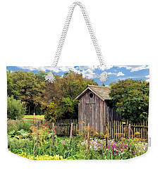 Weekender Tote Bag featuring the painting Garden Outhouse At Old World Wisconsin by Christopher Arndt