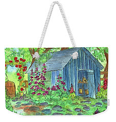 Weekender Tote Bag featuring the painting Garden Potting Shed by Cathie Richardson
