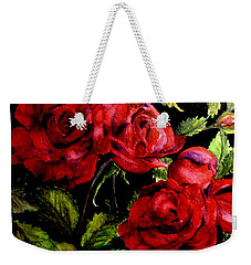 Weekender Tote Bag featuring the painting Garden Roses by Carol Grimes