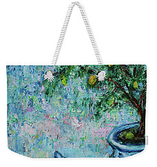 Weekender Tote Bag featuring the painting Garden Sleeping Cat by Xueling Zou