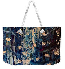 Weekender Tote Bag featuring the painting The Garden Story by Kicking Bear Productions