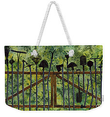 Weekender Tote Bag featuring the painting Garden Tools by Hailey E Herrera
