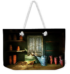 Weekender Tote Bag featuring the photograph Gardener - The Potters Shed by Mike Savad