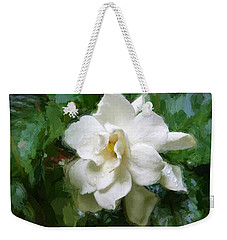 Weekender Tote Bag featuring the digital art Gardenia Blossom by Ludwig Keck
