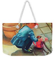 Weekender Tote Bag featuring the painting Gardening by Marlene Book