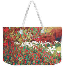 Gardens Of Spring - Tulips In Red And White Weekender Tote Bag by Miriam Danar