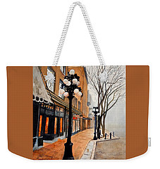 Weekender Tote Bag featuring the painting Gastown, Vancouver by Sher Nasser