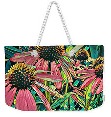 Weekender Tote Bag featuring the photograph Gathering Of Coneflowers by Diane Miller