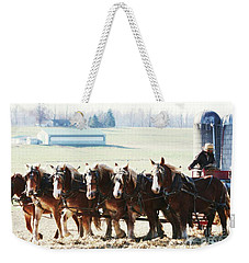Gathering Up The Hay With A Six Horse Teamin Lancaster County Pennsylvania Weekender Tote Bag