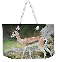 Weekender Tote Bag featuring the painting Gazelle Pose by Judy Kay