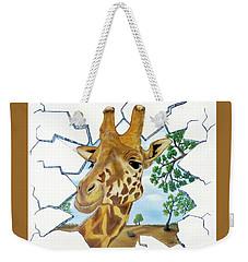 Weekender Tote Bag featuring the painting Gazing Giraffe by Teresa Wing