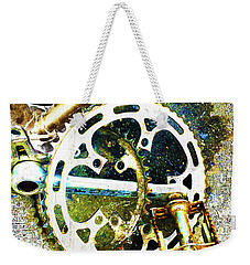 Weekender Tote Bag featuring the mixed media Gear by Tony Rubino