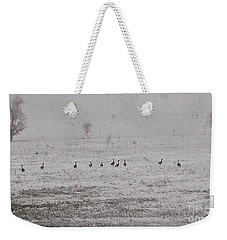 Geese During The Snow Storm Weekender Tote Bag