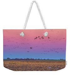 Geese Flying At Sunset Weekender Tote Bag