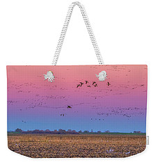 Geese Flying At Sunset Weekender Tote Bag