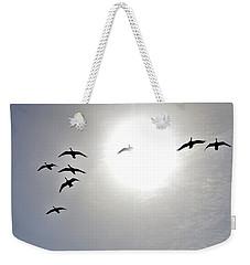 Geese In Flight Weekender Tote Bag