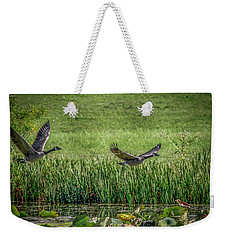 Geese In Flight Weekender Tote Bag