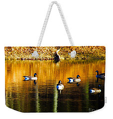 Geese On Lake Weekender Tote Bag