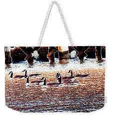 Geese On The Water Weekender Tote Bag