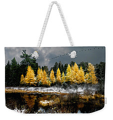 Geese Over Tamarack Weekender Tote Bag