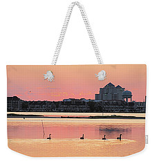 Geese Swimming On Isle Of Wight Bay Weekender Tote Bag