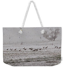Geese Walking In The Snow Weekender Tote Bag