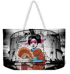 Weekender Tote Bag featuring the photograph Geisha Graffiti by Adrian Evans