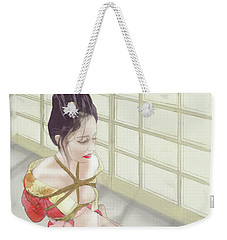 Weekender Tote Bag featuring the mixed media Geisha by TortureLord Art