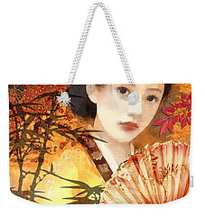 Geisha With Fan Weekender Tote Bag