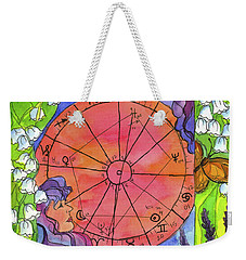 Weekender Tote Bag featuring the painting Gemini by Cathie Richardson