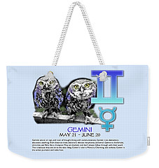 Gemini Sun Sign Weekender Tote Bag