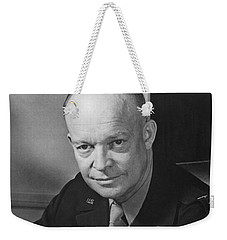 Weekender Tote Bag featuring the photograph General Dwight Eisenhower by War Is Hell Store