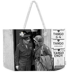 Weekender Tote Bag featuring the photograph General Eisenhower And General Ridgway  by War Is Hell Store