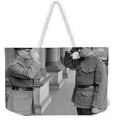 General John Pershing Saluting Babe Ruth Weekender Tote Bag by War Is Hell Store