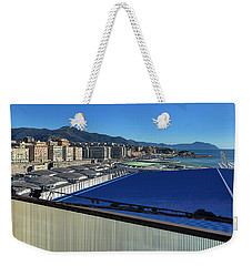 Weekender Tote Bag featuring the photograph  Genova Town Landscape From Abandoned Office Building Roof by Enrico Pelos