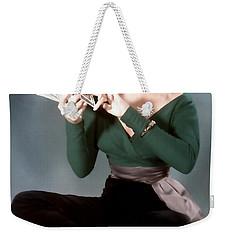 Weekender Tote Bag featuring the painting Gentlemen Prefer Blondes Movie Art Staring Marilyn Monroe by R Muirhead Art