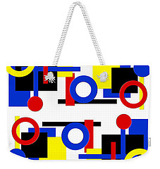 Weekender Tote Bag featuring the digital art Geometric Shapes Abstract V 1 by Andee Design