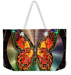 Weekender Tote Bag featuring the digital art Geometron Fyr Lepidoptera by Iowan Stone-Flowers