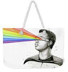 Geordi Sees The Rainbow Weekender Tote Bag by Olga Shvartsur