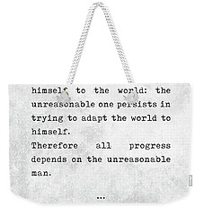 George Bernard Shaw Quotes - Man And Superman - Literary Quotes - Book Lover Gifts - Typewriter Art Weekender Tote Bag