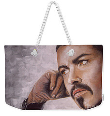 Weekender Tote Bag featuring the painting George Michael by Patrice Torrillo