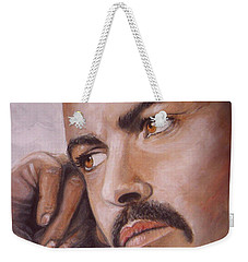 Weekender Tote Bag featuring the painting  Up Close George Michael  by Patrice Torrillo