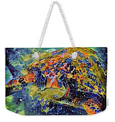 Weekender Tote Bag featuring the painting George The Turtle by Erika Swartzkopf
