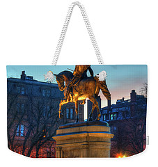 Weekender Tote Bag featuring the photograph George Washington Statue In Boston Public Garden by Joann Vitali